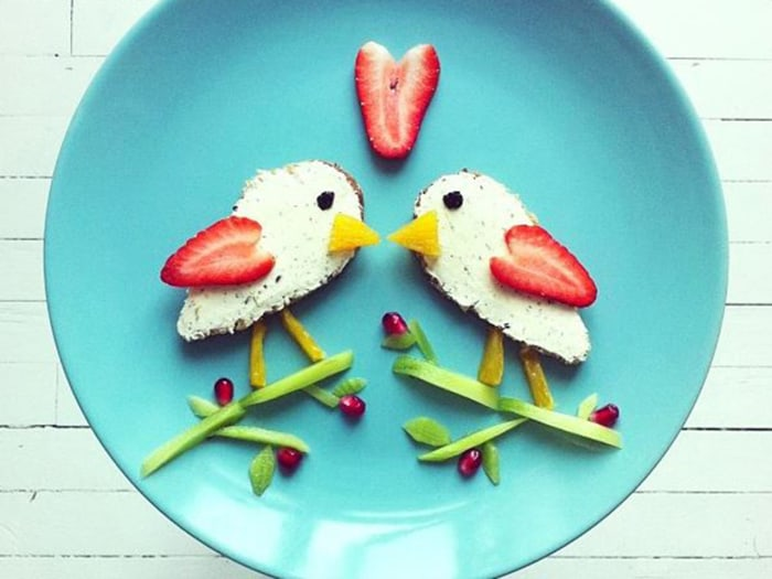 Tasty and adorable: Ida makes a Valentine's Day-inspired meal from fruit and vegetables.