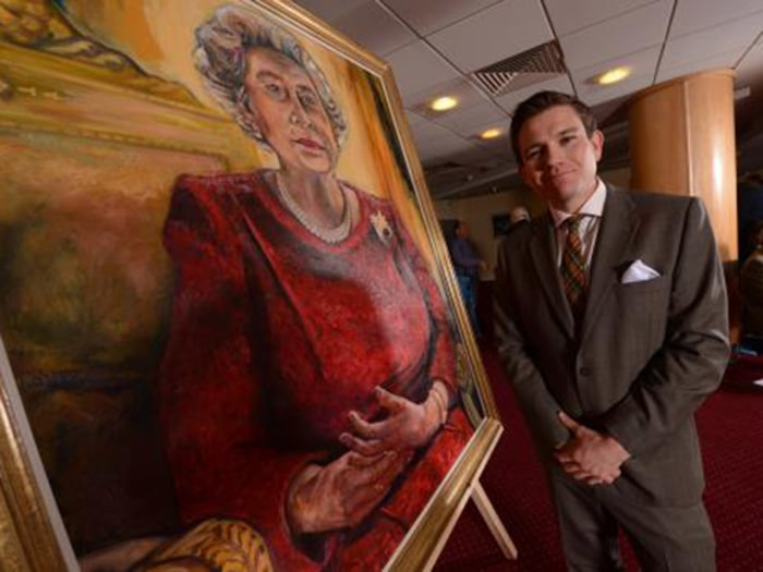 01.05.13 - WRU Queen Portrait Unveiling - Artist Dan Llywelyn Hall after unveiling his new portrait of the Queen to be housed at the Millennium Stadiu...