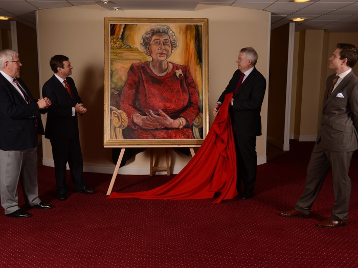 01.05.13 - WRU Queen Portrait Unveiling - WRU President Dennis Gethin, WRU Chief Executive Roger Lewis, First Minister of Wales Carwyn Jones and Artis...