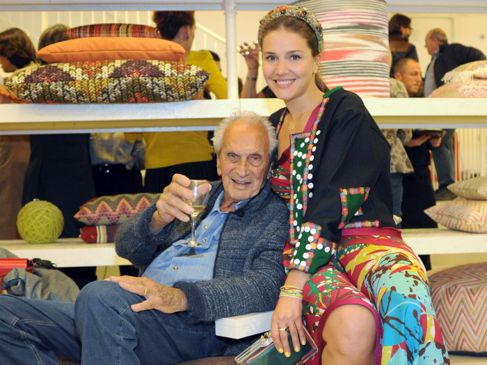 Ottavio Missoni, co-founder of the colourful fashion brand Missoni, has passed away peacefully at home in Sumirago, Italy aged 92. Pictured: Ottavio Missoni and granddaughter Margherita Missoni during Milan Design Week on April 16, 2012 in Milan, Italy.