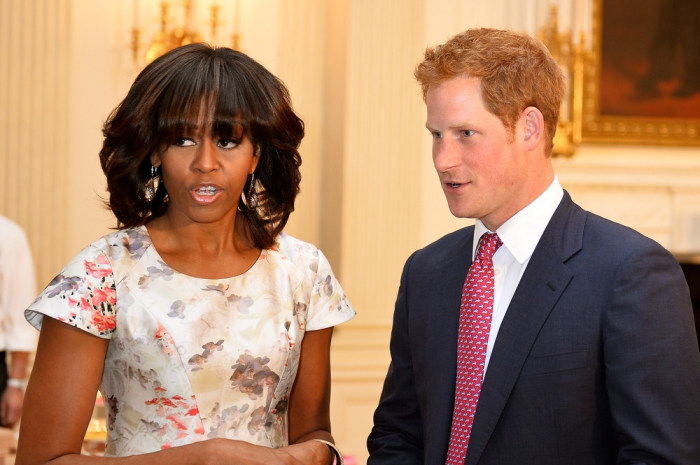 WASHINGTON, DC - MAY 09:  HRH Prince Harry and first lady Michelle Obama meet at the White House during the first day of his visit to the United State...