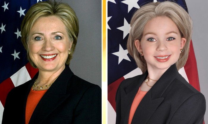 A tiny Hillary Clinton.