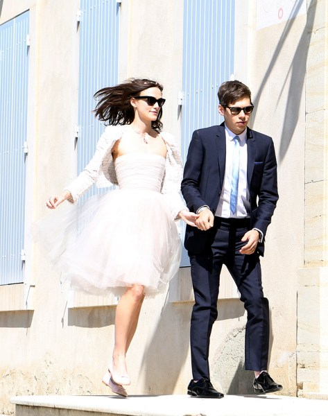 Too chic: Keira Knightley married James Righton in cute flats at the French provencal village of Mazan, on May 4, 2013.