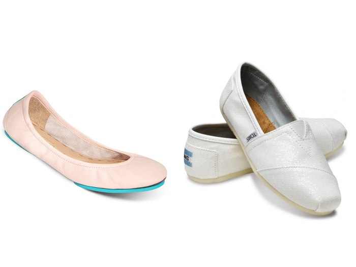 Sweet and comfy: Tieks in ballerina pink and metallic TOMS slip-ons in white.