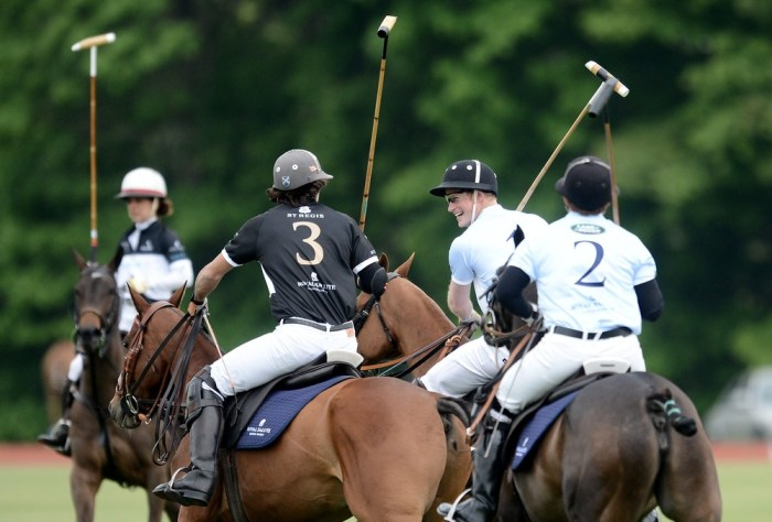 Britain's Prince Harry (2nd R) plays in the Santebal Polo Cup at the Greenwich Polo Club in Greenwich, Conn. on May 15, 2013.