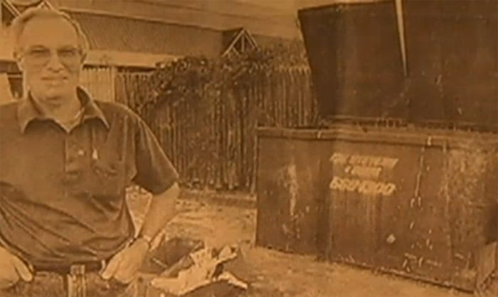 Image: Thomas Stephenson near Dumpster in 1989