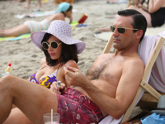 Megan and Don soak up the rays on the Season 5 premiere of AMC's Mad Men.
