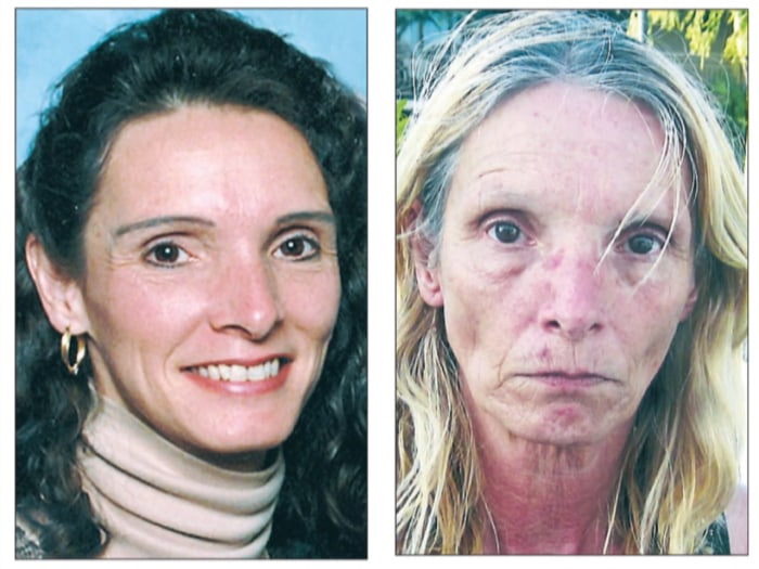 Brenda Heist, pictured before and after her disappearance, seemingly vanished into thin air.