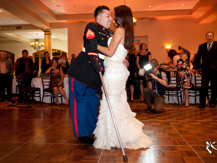 Juan Dominguez and his wife Alexis at their wedding last month.