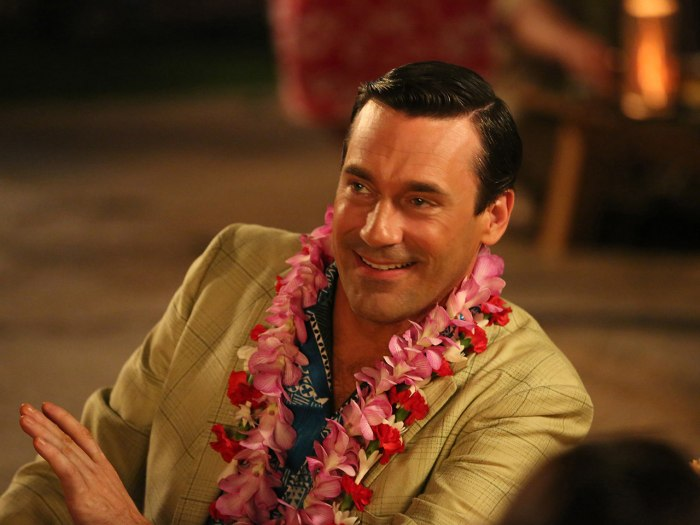 Don Draper has possibly never looked more stylish than he does in pink leis.