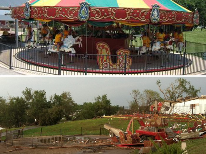 Orr Family Farm, which is a tourist attraction and family entertainment center, had its carousel destroyed by the storm along with several other buildings, but all of its employees made it through the storm unscathed.