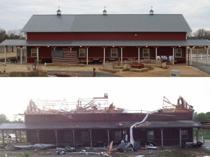 The main barn was one of several structures ravaged by deadly tornadoes at Orr Family Farm in Moore, Okla., which is still determining how many animals have died or been lost. Employees already had to euthanize several horses on Monday.
