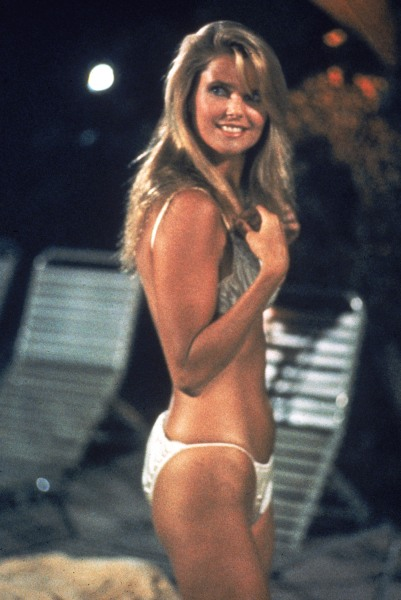 "Blast from the past: Christie Brinkley poses in a bikini swimsuit from ""National Lampoon's Vacation"" in1983."