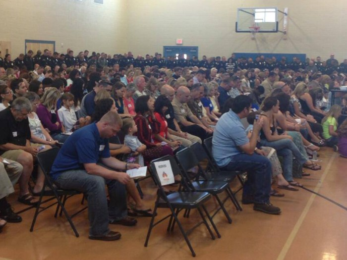 The graduation ceremony for Tatum's kindergarten class was standing room only.