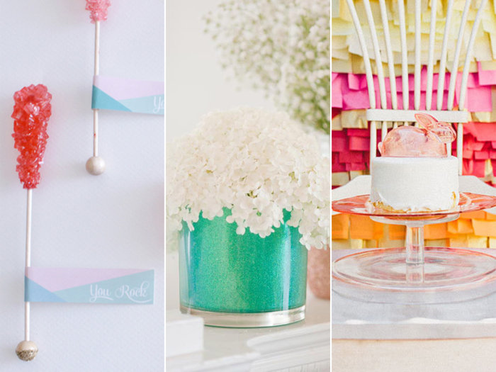 The competition: rock candy place cards, glitter vases and a colorful paper tissue wall.