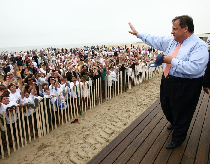 Governor Chris Christie on the beach