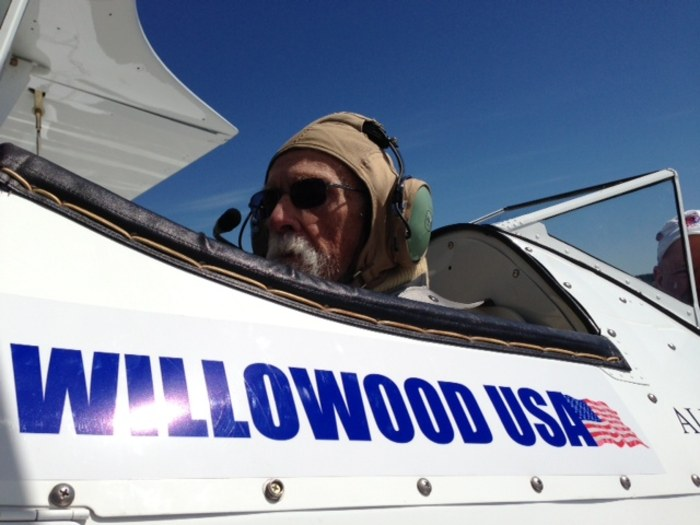 William Geiger, 97, a veteran with the Army's intelligence corps, prepares to take flight.