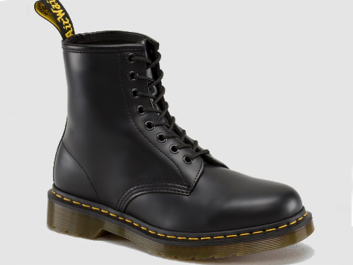 Doc Martens, particularly fashionable with skirts.