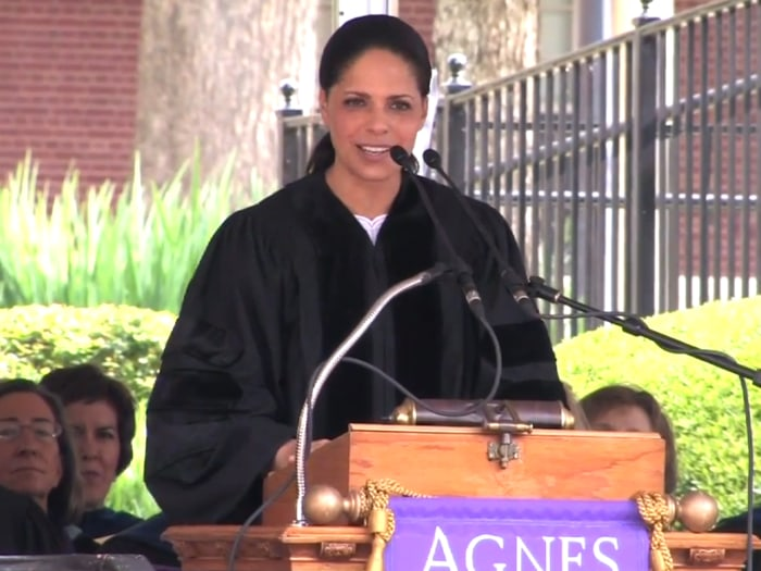 CNN correspondent Soledad O'Brien delivers commencement remarks at Agness Scott's on May 11. She encouraged graduates not to listen to naysayers.