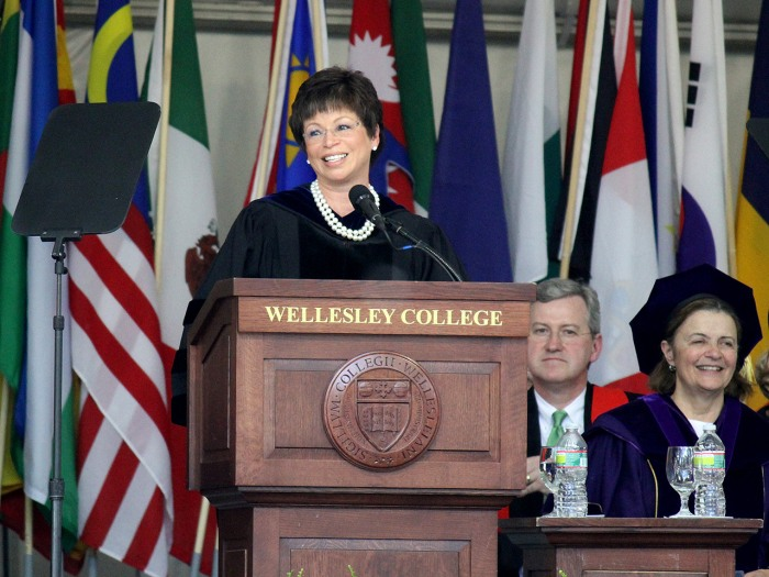 Valerie Jarrett speaks at Wellesley's graduation.