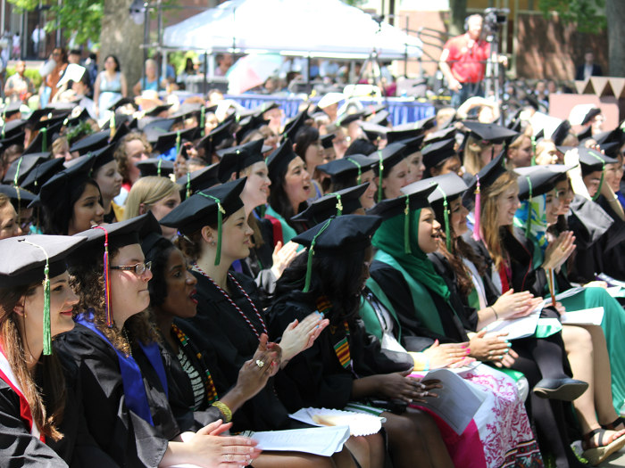 Graduates at Wellesley in 2013.