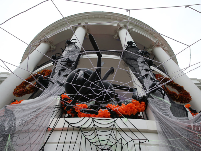 WASHINGTON, DC - OCTOBER 31:  A The South Portico of the White House is decorated for Halloween October 31, 2013 in Washington, DC. Later this evening...