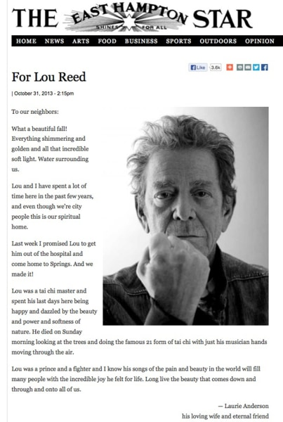 Laurie Anderson's eulogy to Lou Reed.