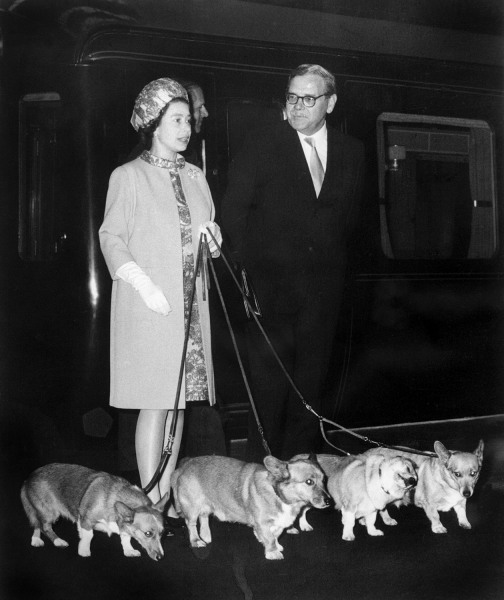 Image: Queen Elizabeth II, left, arrives at King's Cross railway station in London with her four Corgi dogs on Oct. 15, 1969.