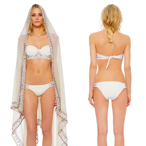 Image: Model wearing designer Mara Hoffman's bridal bikini