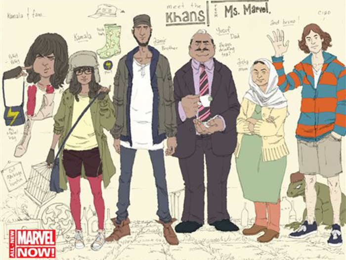 "This comic book image released by Marvel Comics shows character Kamala Khan , second left, with her family Aamir, father Yusuf, mother Disha and friend Bruno, from the ""Ms. Marvel"" issue."