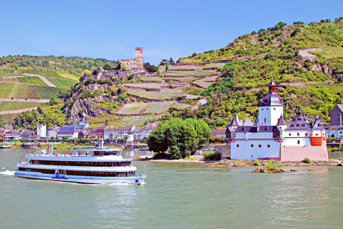 Rhine River, Kaub, Germany. Cruise lines are expanding their river fleets in Europe at a record-breaking pace, with at least 20 vessels scheduled to debut in 2014.