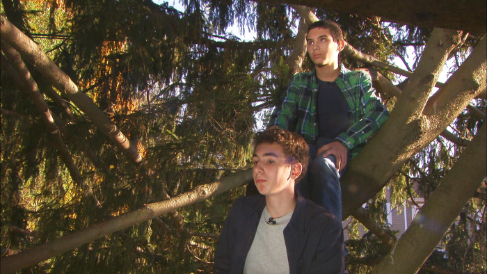 Noah Vargoshe, 12, (up top) and Nathan Vargoshe, 15, (below) have many memories of climbing the Norway spruce in their front yard while growing up but are excited to share it with the world in Rockefeller Center.