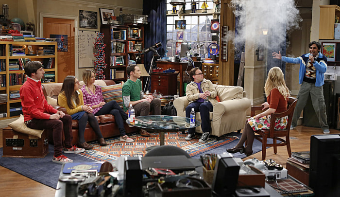 "The cast of ""The Big Bang Theory"" in a scene from ""The Scavenger Vortex."""
