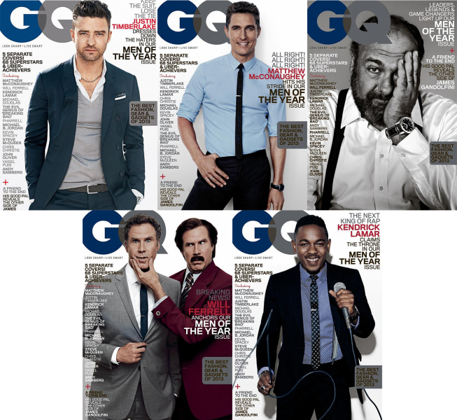 Image: Justin Timberlake, Matthew McConaughey, James Gandolfini, Will Ferrell and Kendrick Lamar
