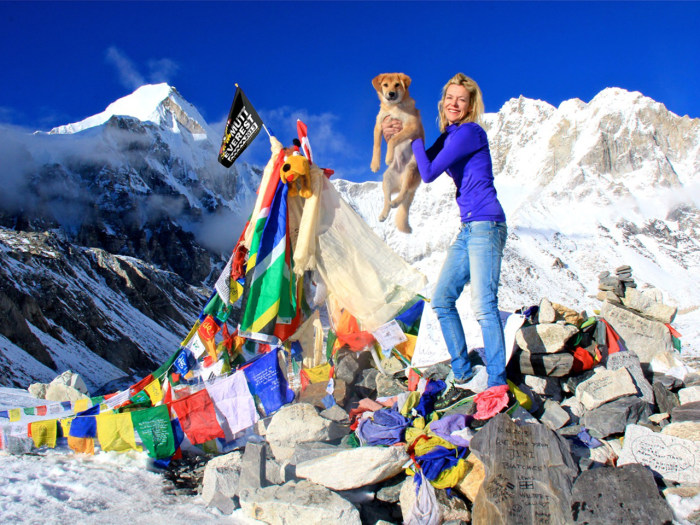 Image: Joanne Lefson and Rupee the dog at South Base Camp on Mount Everest