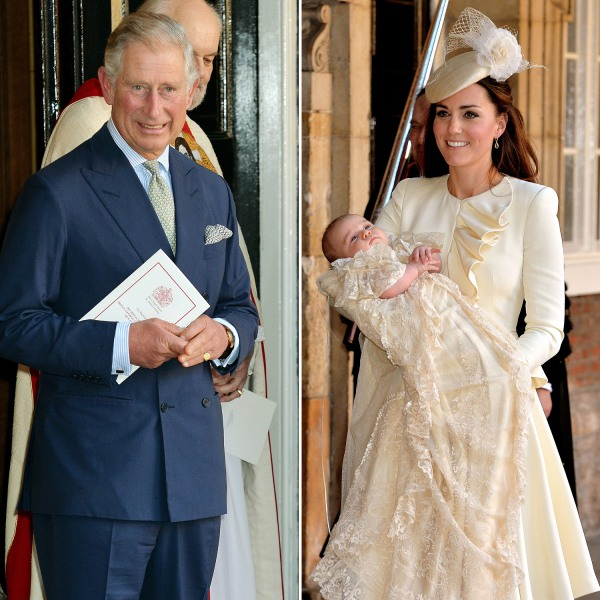 Catherine, Duchess of Cambridge, holds her son Prince George of Cambridge following his Christening at Chapel Royal in St James's Palace in central Lo...