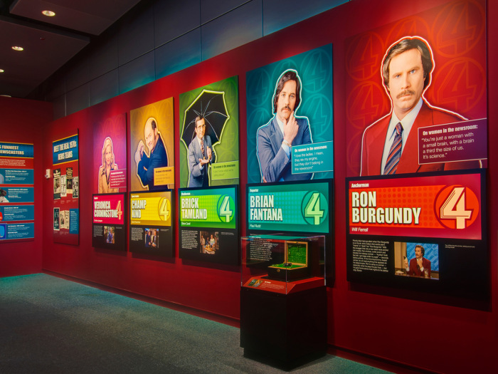 The fictional Channel 4 news team's wall of fame.
