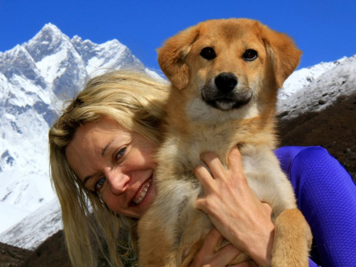 Image: Joanne Lefson and Rupee the dog on Mount Everest