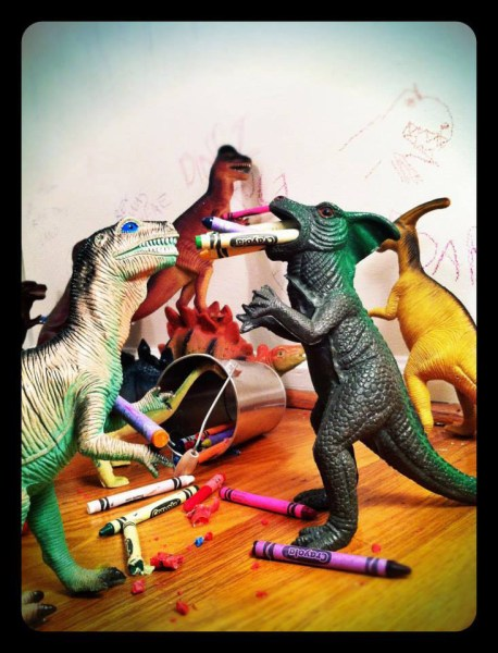 The dinosaurs making a mess.