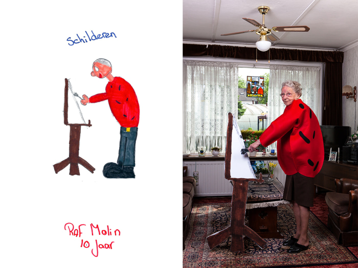 Artist recreates childrens drawings with grandparents.