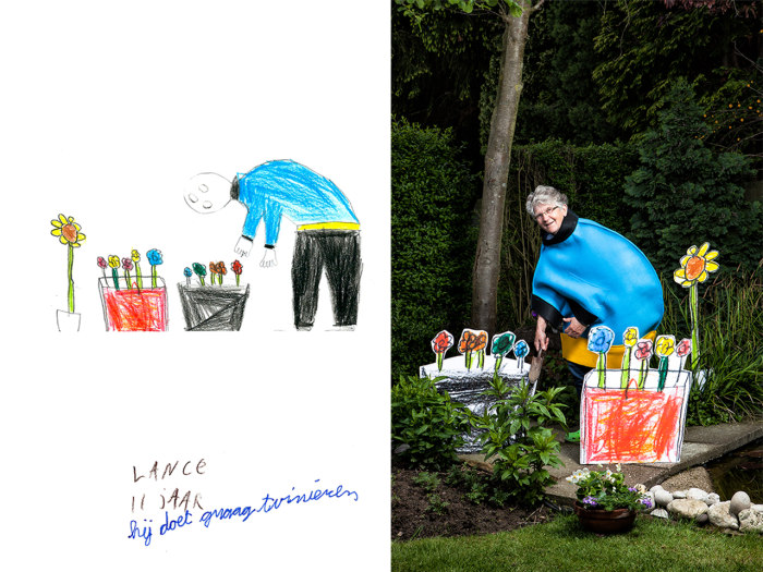 Artist recreates kids' drawings of grandparents in photos.