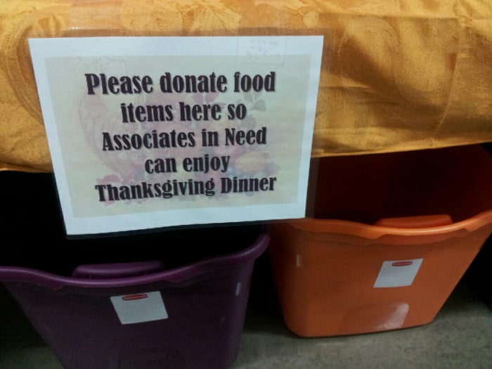 An employee-drive food collection at a Ohio Wal-mart is geared to help fellow workers.