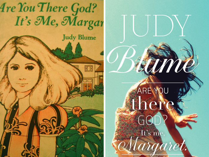 """Image: Old and new book covers for """"Are You There, God? It's Me, Margaret"""" by Judy Blume"""