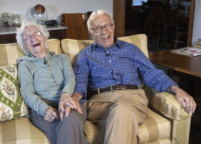 John Betar, 102, and his wife Ann, 98, are seen at their home