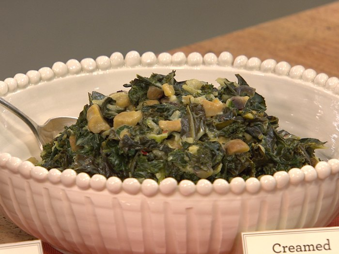 Martha's creamed greens with chestnuts
