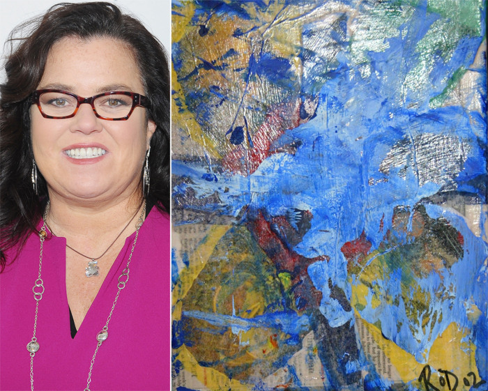 Rosie O'Donnell and one of her paintings at the 2002 GLAAD OUTAuction in New York City.