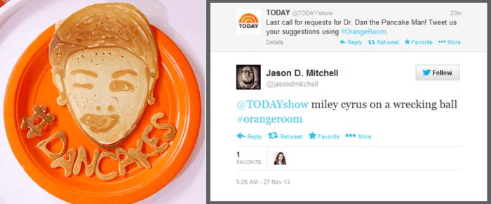 Request granted! Dan the Pancake Man makes Miley Cyrus.
