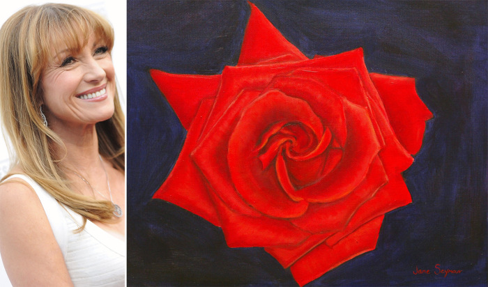 Jane Seymour and one of her rose paintings during a new gallery opening in 2005 in Los Angeles.