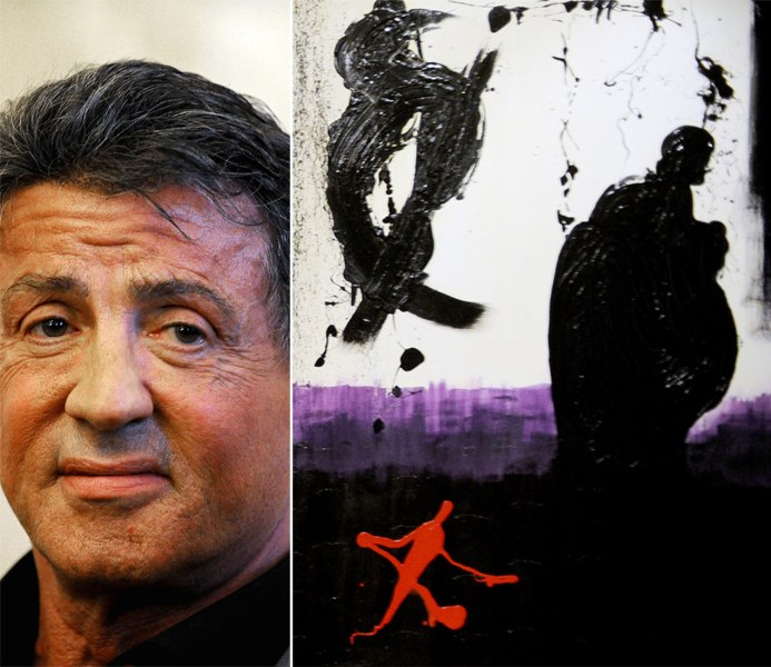 "Sylvester Stallone and his ""Ties"" work, which was featured at the art exhibition ""Sylvester Stallone Painting From 1975 Until Today"" at the Russian Museum in St. Petersburg exhibit."