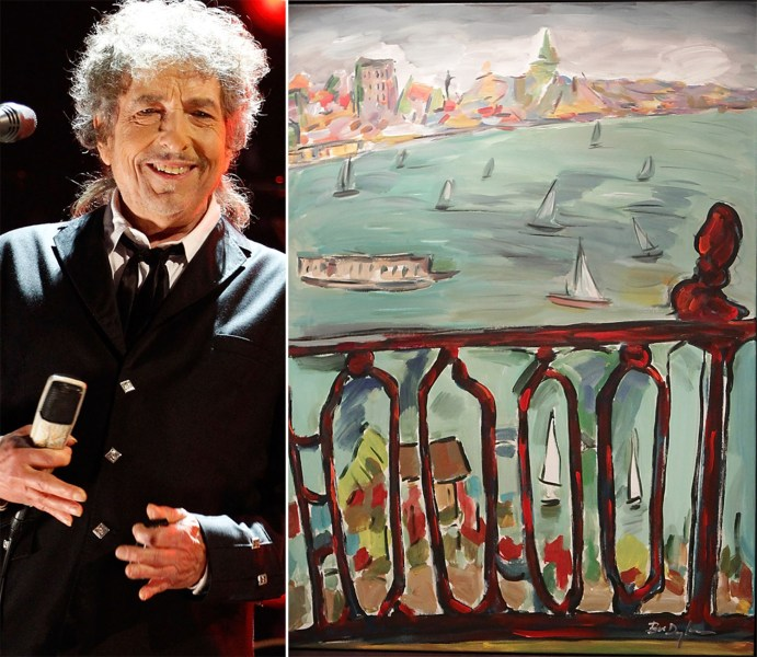 "Bob Dylan and his ""Vista From Balcony"" work, which was shown in 2010 for the first time in London at the ""Bob Dylan on Canvas Exhibition."""